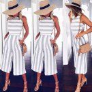 Women Stripe Print Sleeveless Zipper Back Long Jumpsuit Romper