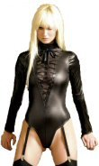 Wet-Look Teddy with Lace Up Front - S/M