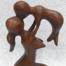 Statuette Abstraction of a mother with a child wooden, wooden statuette, mother with a child