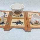 Bamboo decorative screen cup holder, napkin under cups, wooden gift, screen