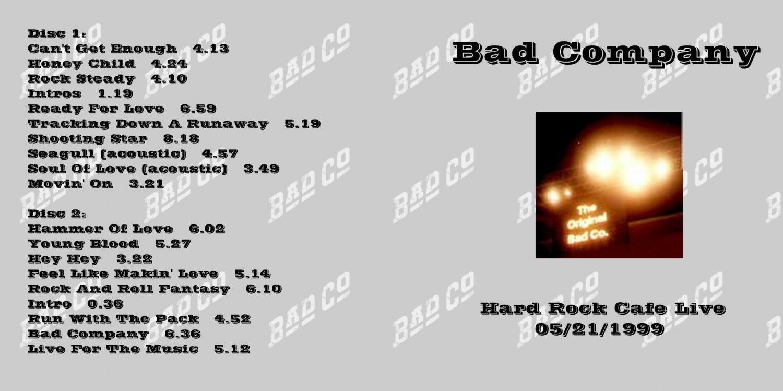 Bad Company CD - Orlando Hard Rock Cafe 1999