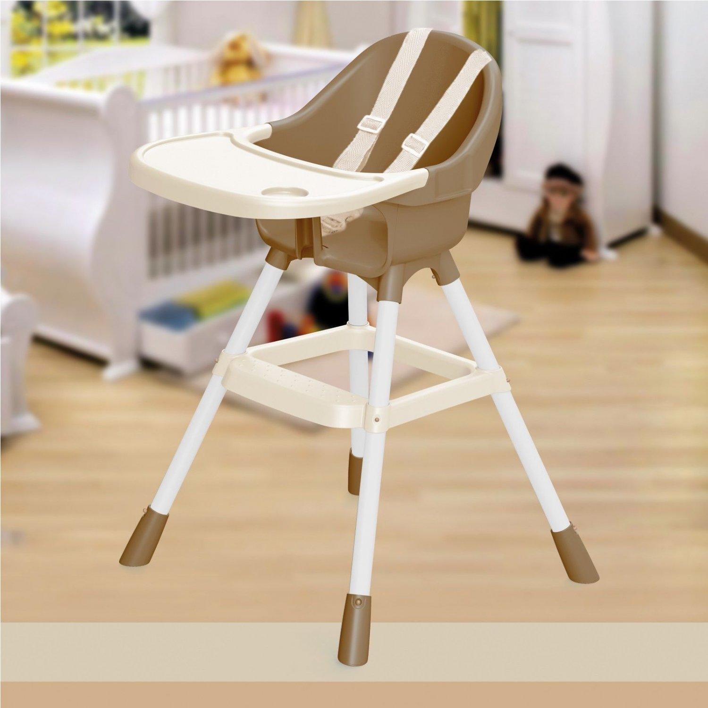 Dolu Brown & White High Chair Infant Child Feeding Seat Bib Tray Safety Belt NEW