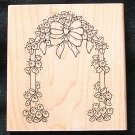 Large Rubber Stamp Mounted On Wood Garden Arch Floral By JRL Designs
