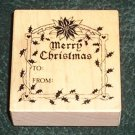 Rubber Stamp Mounted On Wood Merry Christmas By PSX 1987