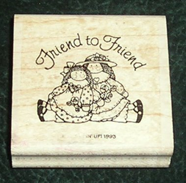 Rubber Stamp Mounted On Wood Friend To Friend By Stampin' Up! 1993