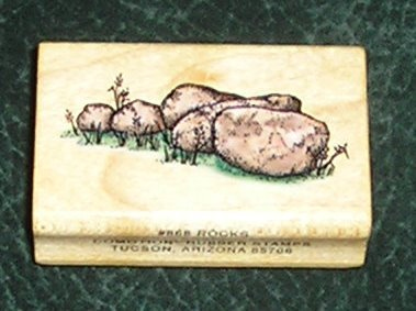 Rubber Stamp Mounted On Wood Rocks By Comotion Rubber Stamps 1996