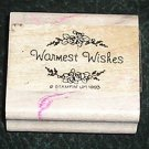 Rubber Stamp Mounted On Wood Warmest Wishes By Stampin' Up! 1993