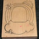 Rubber Stamp Mounted On Wood Rainbow Cloud Baby Border By Alias Smith and Rowe