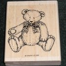 Rubber Stamp Mounted On Wood Button Bear By Stampin' Up! 1995
