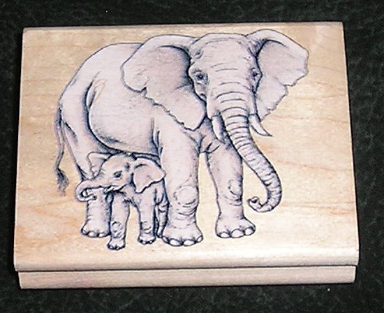 Rubber Stamp Mounted On Wood Elephant With Baby Rubber Stampede