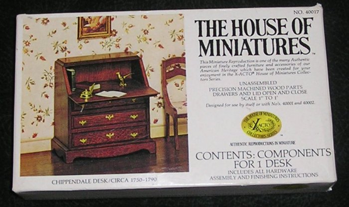 Vintage The House Of Miniatures Chippendale Desk Kit For Dolls House Unassembled With Box 1977