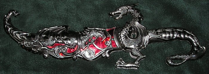 Dragon Fantasy Knife With Matching Scabbard 17.5""