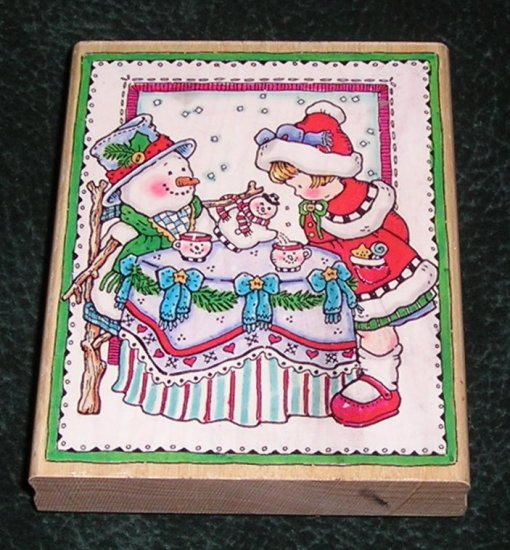 Rubber Stamp Mounted On Wood Christmas Tea Party By Penny Black 1996