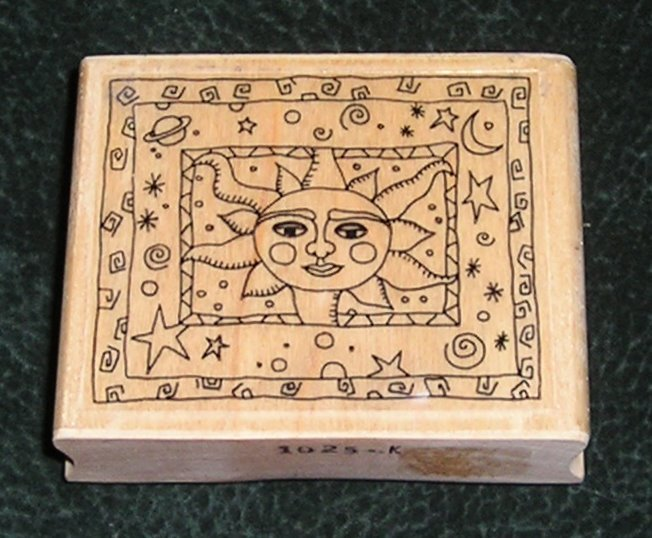 Rubber Stamp Mounted On Wood Sun, Stars, Planets By Effie Glitzfingers 1995