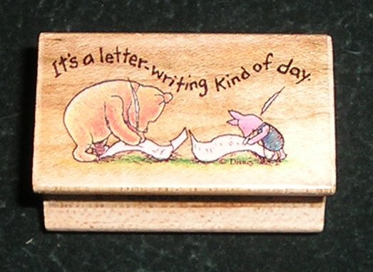 Rubber Stamp Mounted On Wood Pooh & Piglet It's A Letter Writing Kind Of Day All Night Media Disney