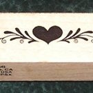 Rubber Stamp Mounted On Wood Heart Border By PSX #C-666 From 1985