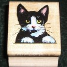 Rubber Stamp Mounted On Wood Cat Lucky By All Night Media #226D From 1984