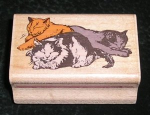 Rubber Stamp Mounted On Wood Cat Naps By Rubber Stampede #023-D