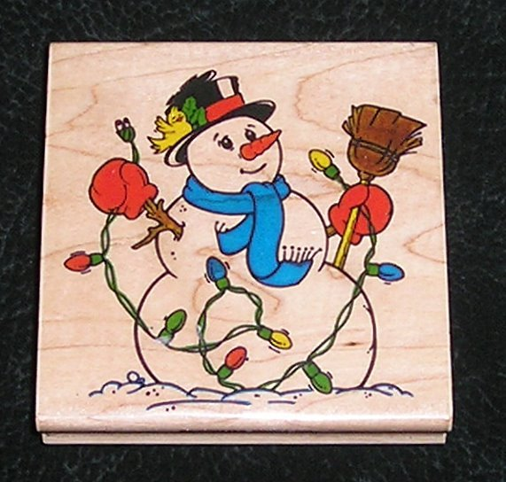 Rubber Stamp Mounted On Wood Jumbo Snowman & Lights By Impressive Stamps #H2629