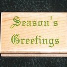 Rubber Stamp Mounted On Wood Seasons Greetings By Impressive Stamps #D2525