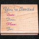 Rubber Stamp Mounted On Wood Pretty Invitation Youre Invited By Impressive Stamps #F2399