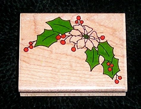 Rubber Stamp Mounted On Wood Christmas Flower Corner By Impressive Stamps #E2524