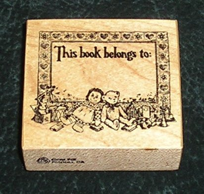 Rubber Stamp Mounted On Wood This Book Belongs To By PSX 1983