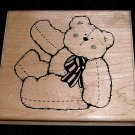 Rubber Stamp Mounted On Wood Bear By D.O.T.S.