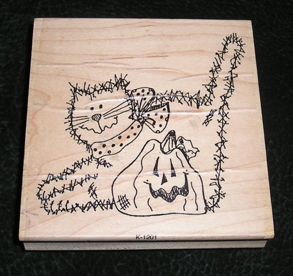 Rubber Stamp Mounted On Wood Midnite 'n Jack By The Rubbernecker Stamp Co K1201