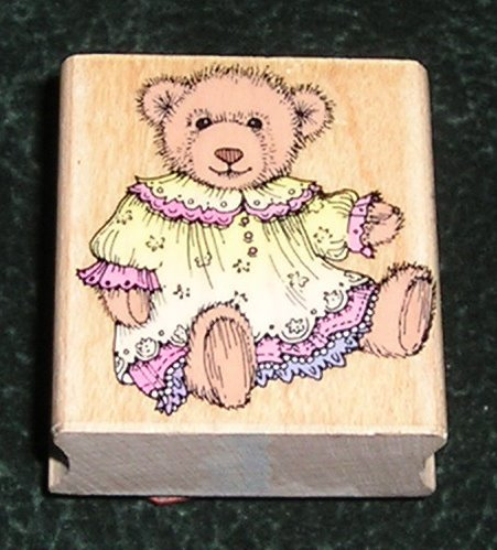 Rubber Stamp Mounted On Wood Fancy Bear By Hero Arts C1039