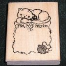 Rubber Stamp Mounted On Wood Kitty Book Plate By D.O.T.S. N169