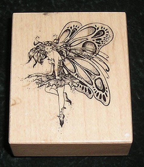 Rare Rubber Stamp Mounted On Wood Fairy By PSX #E-742