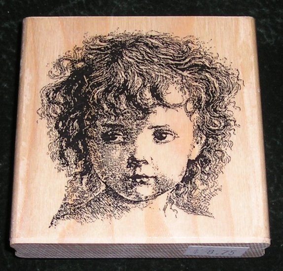 Rubber Stamp Mounted On Wood Victorian Style Girl Face Large By Rubber Cottage #RC-278EA