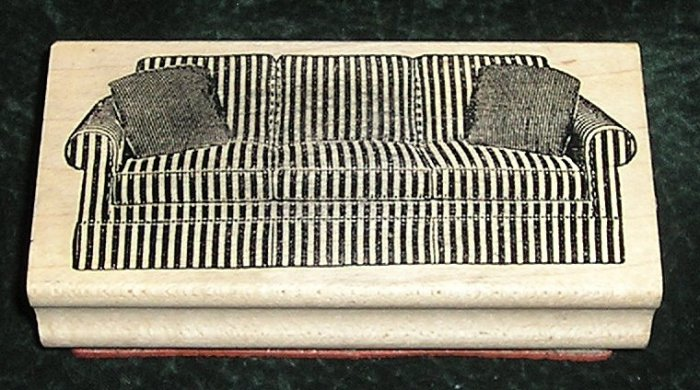 Rubber Stamp Mounted On Wood Sofa Settee With 2 Cushions By Judi Kins #1405 F