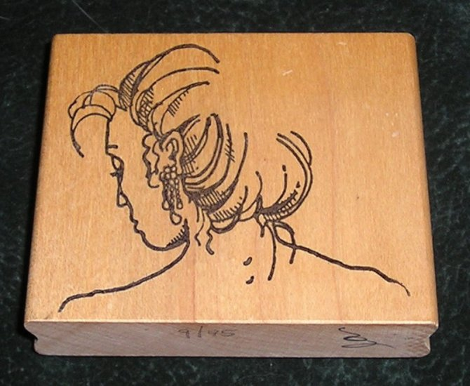 Rubber Stamp Mounted On Wood Woman's Head & Shoulders By RRR