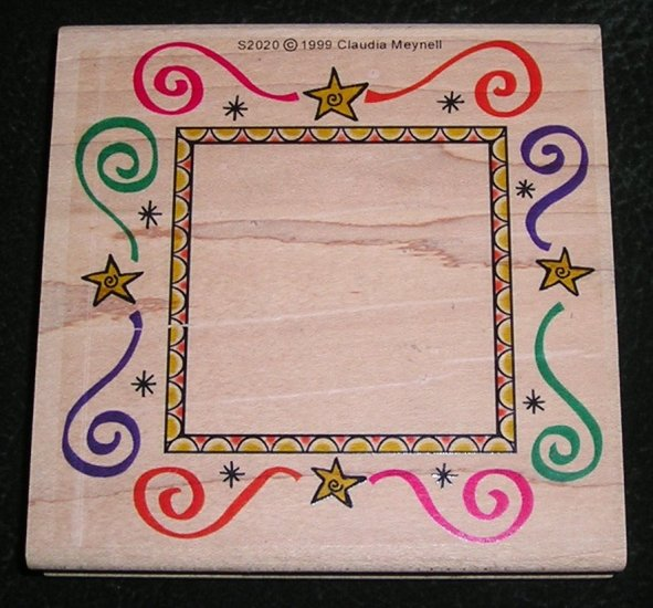 Rubber Stamp Mounted On Wood Frame Border By Graphistamp S2020