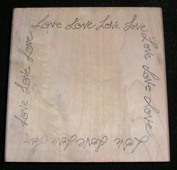 Rubber Stamp Mounted On Wood Love Frame Border By Ducks In A Row 1998