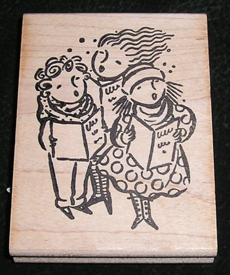 Rubber Stamp Mounted On Wood The Carolers By Ducks In A Row 2000