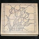 Rubber Stamp Mounted On Wood Stained Glass Tulips By The Stamp Pad Co