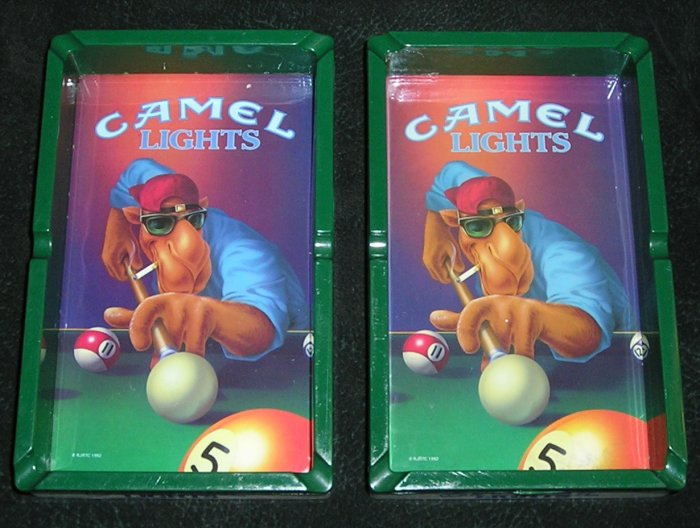 2 Collectible Camel Lights Ashtray Joe Camel Playing Pool From 1992