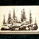 Rubber Stamp Mounted On Wood Pine Island By Stampscapes 207E