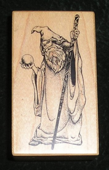 Rubber Stamp Mounted On Wood Wizard By PSX E-700