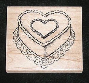 Rubber Stamp Mounted On Wood Heart Cake By Stamp Oasis 356-I