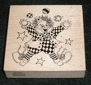 Rubber Stamp Mounted On Wood Clown By PSX G-053