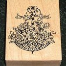 Rubber Stamp Mounted On Wood Umbrella Filled With Flowers By PSX F-1019
