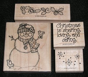 4 Rubber Stamps Mounted On Wood Christmas Lot By Stampin' Up! From 1995