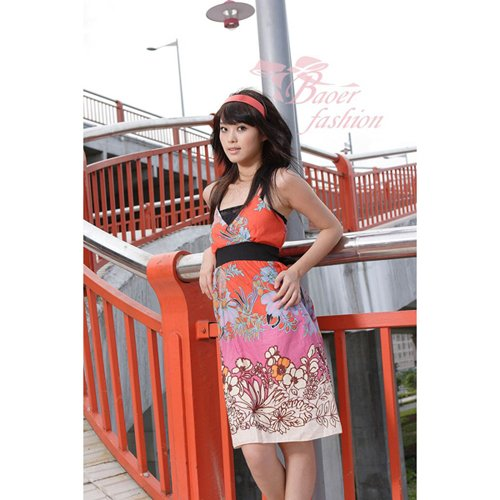Hot Sale - CM- 0358  Japanese Floral Prints Dress