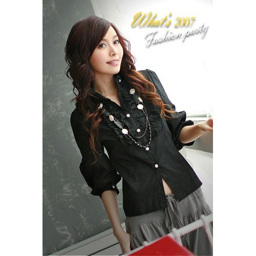 R12-248  Elegent Casual Cotton Shirt - Black and White