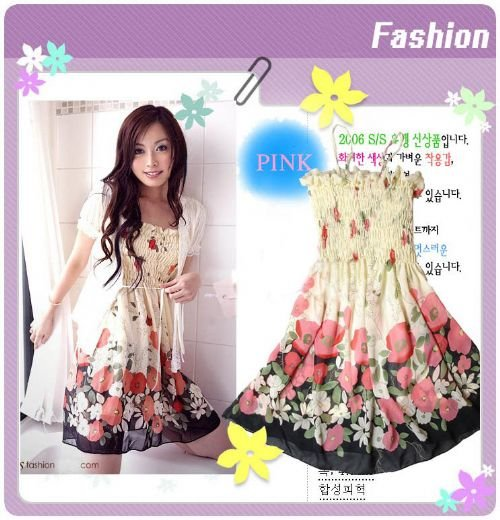 EYC1909 -Korean Floral Dress - Red