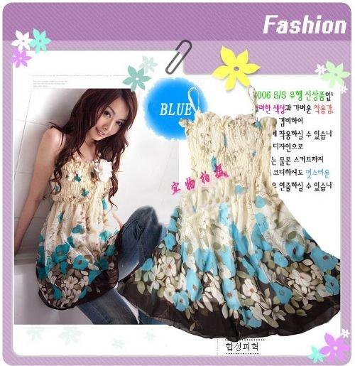 ED 2001 -Korean Floral Dress - Blue